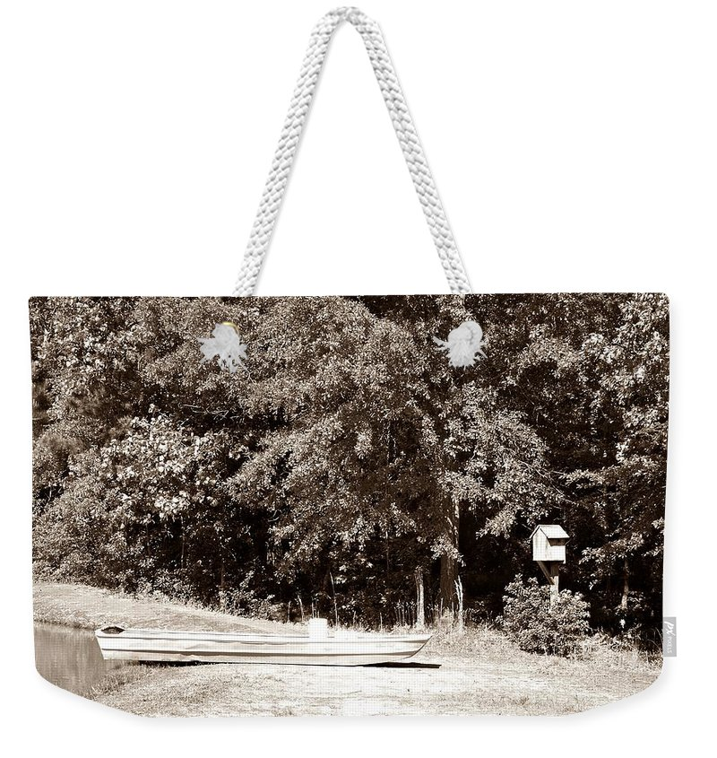 Lake Weekender Tote Bag featuring the photograph Fishin Day by Steve Cochran