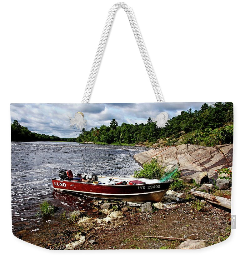 French River Weekender Tote Bag featuring the photograph Fishing And Exploring by Debbie Oppermann
