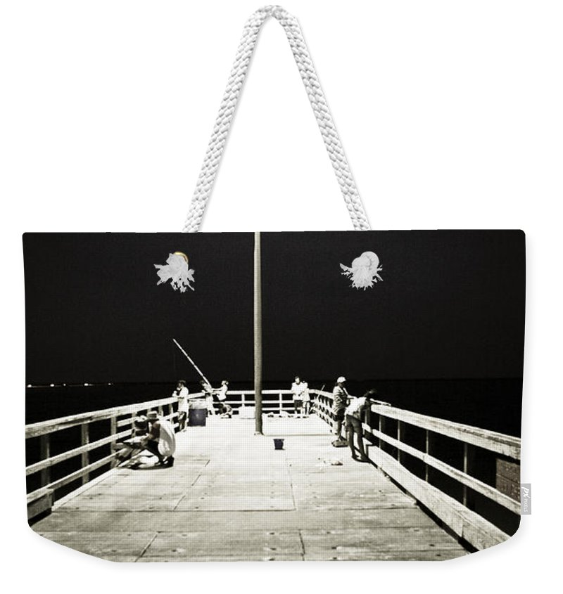 Americana Weekender Tote Bag featuring the photograph Fishing At Night by Marilyn Hunt