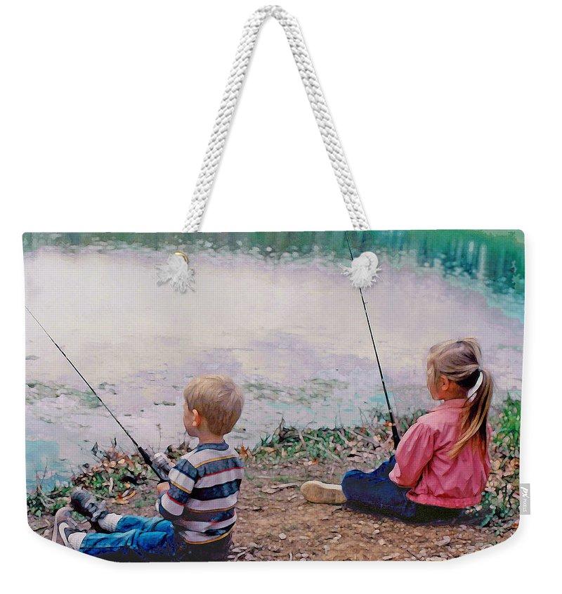 Landscape Weekender Tote Bag featuring the digital art Fishing At Watkins Mill by Steve Karol
