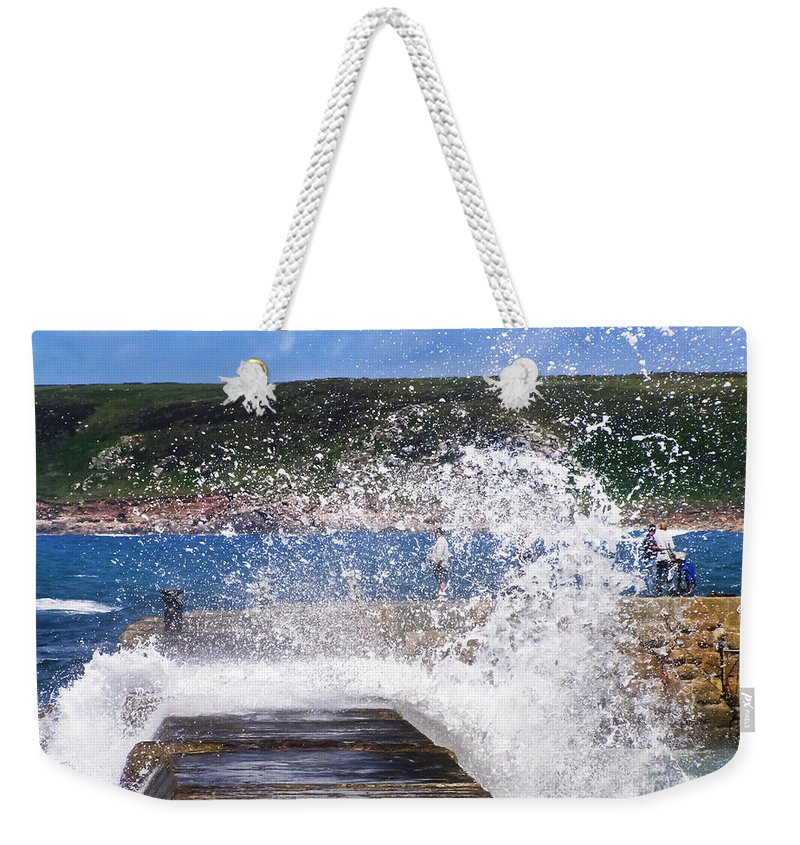 Sennen Cove Weekender Tote Bag featuring the photograph Fishing Beyond The Surf by Terri Waters