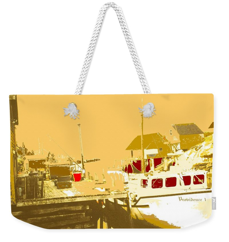 Red Weekender Tote Bag featuring the photograph Fishing Boat At The Dock by Ian MacDonald