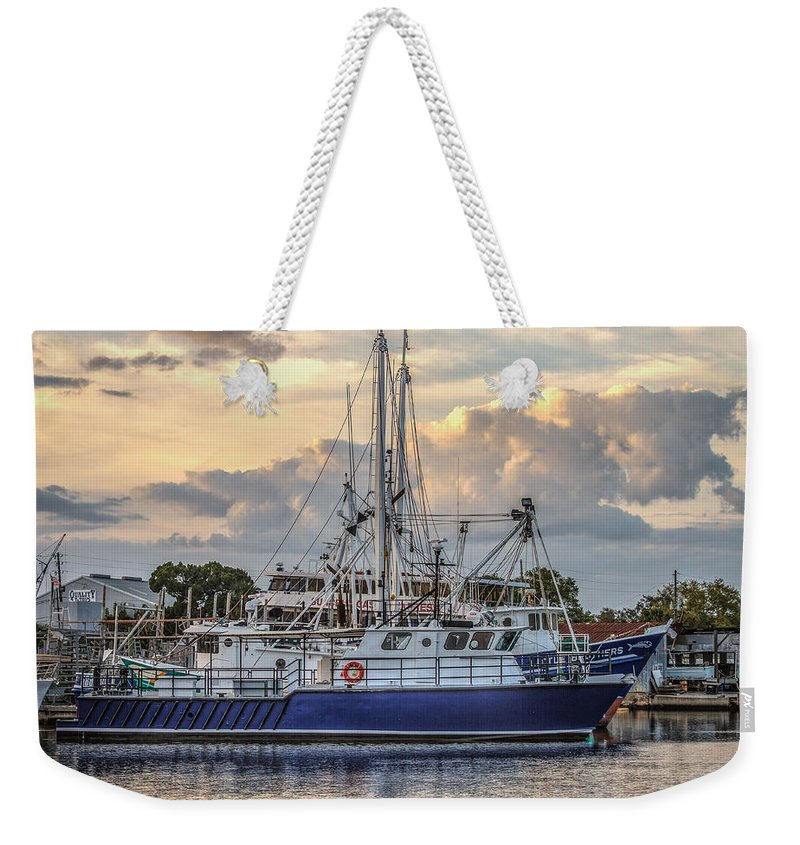 Florida Weekender Tote Bag featuring the photograph Fishing Boat In Port by Jane Luxton