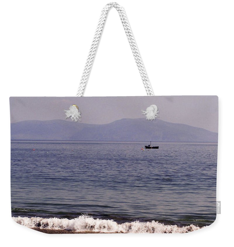 Irish Weekender Tote Bag featuring the photograph Fishing Boat On Ventry Harbor Ireland by Teresa Mucha