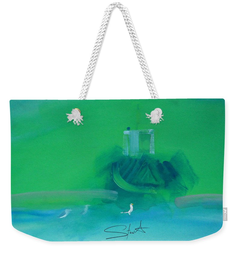 Fishing Boat Weekender Tote Bag featuring the painting Fishing Boat With Seagulls by Charles Stuart