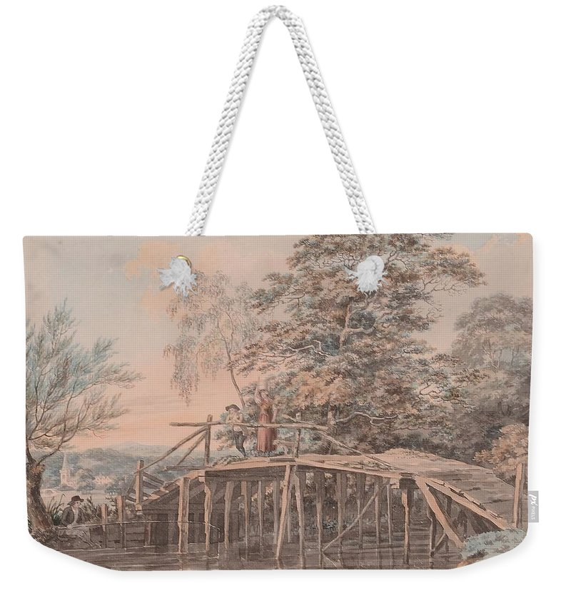 George Samuel (1785-1823) Fishing By A Footbridge Weekender Tote Bag featuring the painting Fishing By A Footbridge by George Samuel