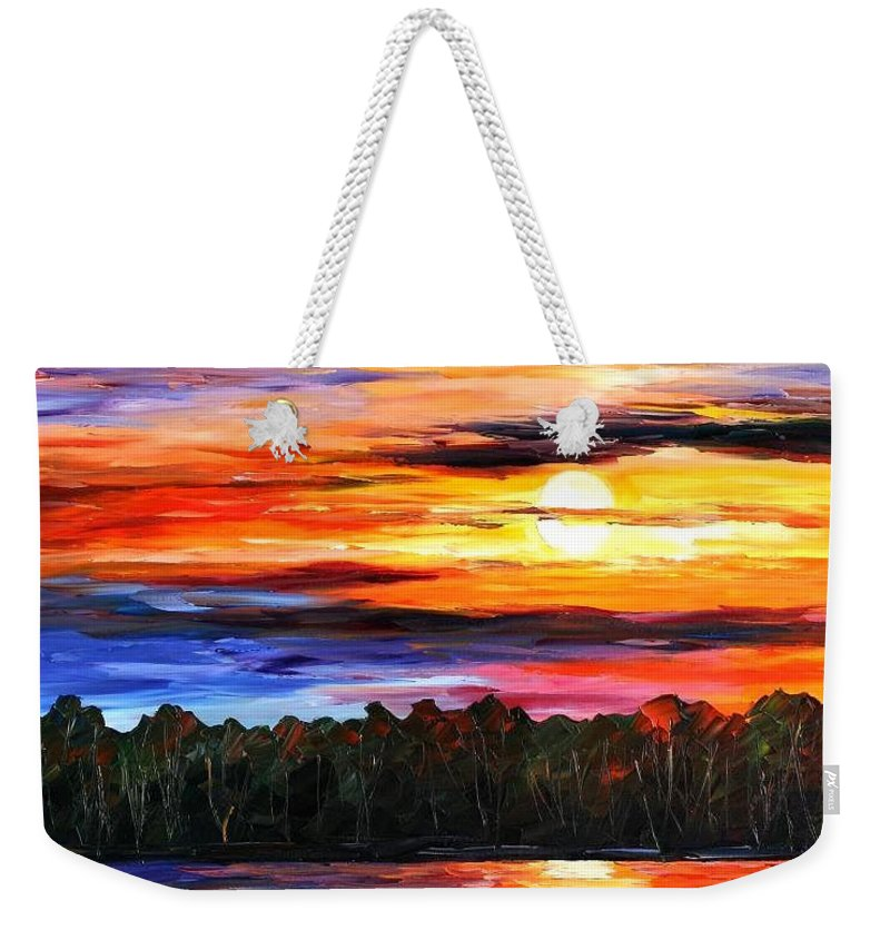 Seascape Weekender Tote Bag featuring the painting Fishing By The Sunset by Leonid Afremov