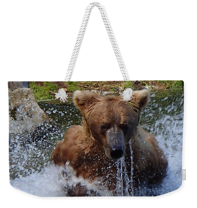 Grizzly Weekender Tote Bag featuring the photograph Fishing by Donna Cain