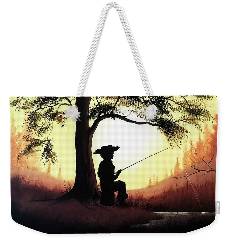Fishing Weekender Tote Bag featuring the painting Fishing Hole by Glen Mcclements