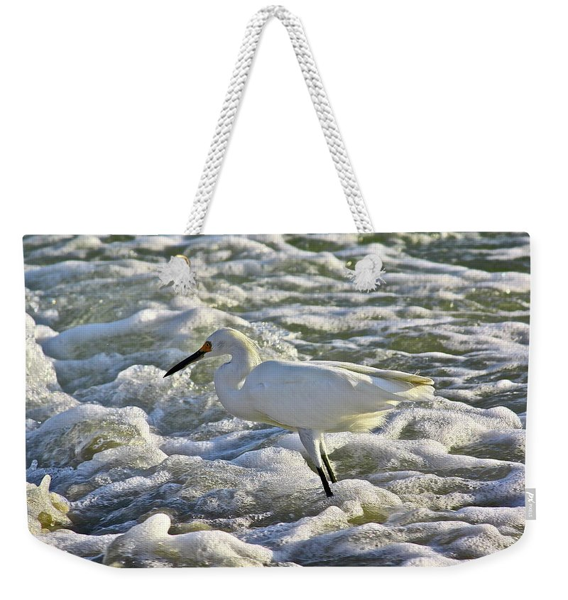 Ocean Weekender Tote Bag featuring the photograph Fishing In The Foam by Diana Hatcher