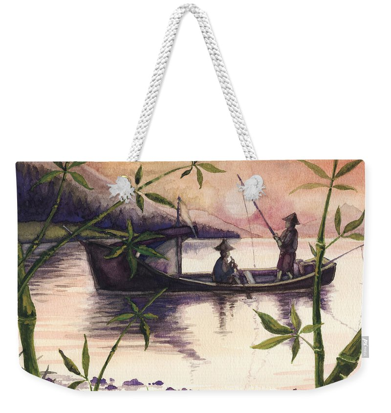 Fishing Weekender Tote Bag featuring the painting Fishing In The Sunset  by Alban Dizdari