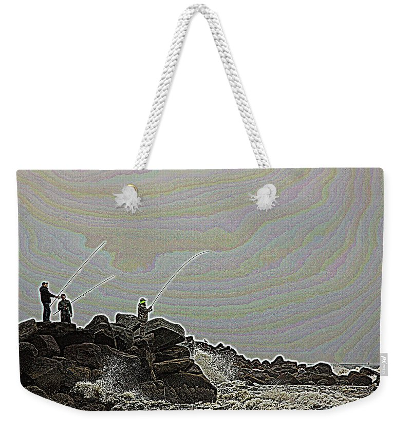 Fishing Weekender Tote Bag featuring the photograph Fishing In The Twilight Zone by Bob Cournoyer