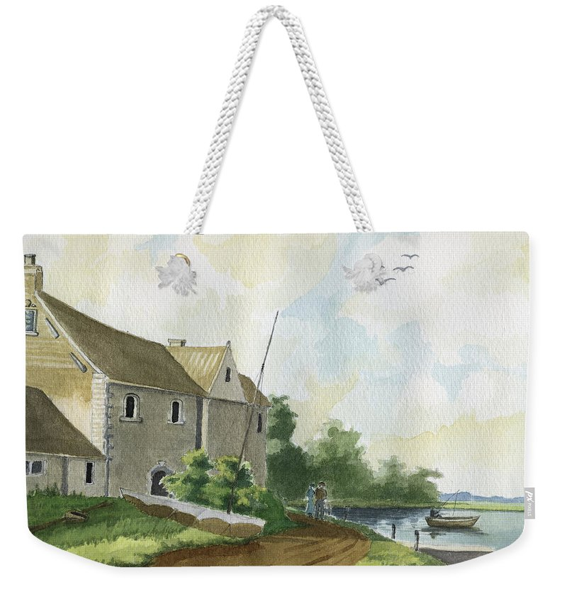 Lake Weekender Tote Bag featuring the painting Fishing Lake by Alban Dizdari
