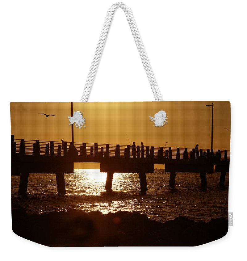 Fort De Soto Weekender Tote Bag featuring the photograph Fishing Off The Pier At Fort De Soto At Dusk by Mal Bray