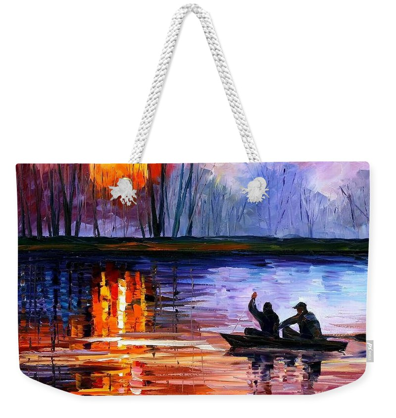 Seascape Weekender Tote Bag featuring the painting Fishing On The Lake by Leonid Afremov
