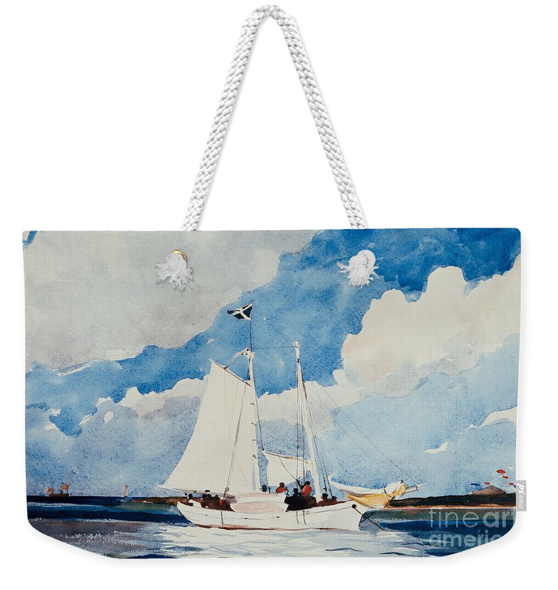 Boat Weekender Tote Bag featuring the painting Fishing Schooner In Nassau by Winslow Homer