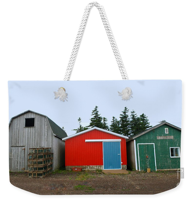 Fishing Weekender Tote Bag featuring the photograph Fishing Shacks Prince Edward Island Canada by Thomas Marchessault