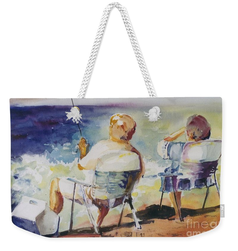 Watercolor Custom Art Painting Fishing Fishermen Couple Beach Ocean Weekender Tote Bag featuring the painting Fishing Together by Maggie Clark