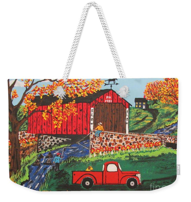Country Art Weekender Tote Bag featuring the painting Fishing Under The Covered Bridge by Jeffrey Koss