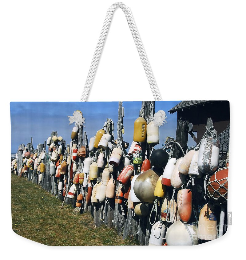 Buoys Weekender Tote Bag featuring the photograph Fishing Village by David Lee Thompson