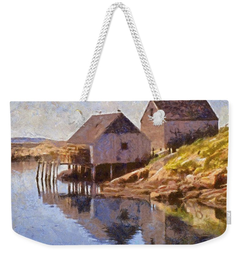 Canadian Weekender Tote Bag featuring the painting Fishing Wharf by Jeffrey Kolker