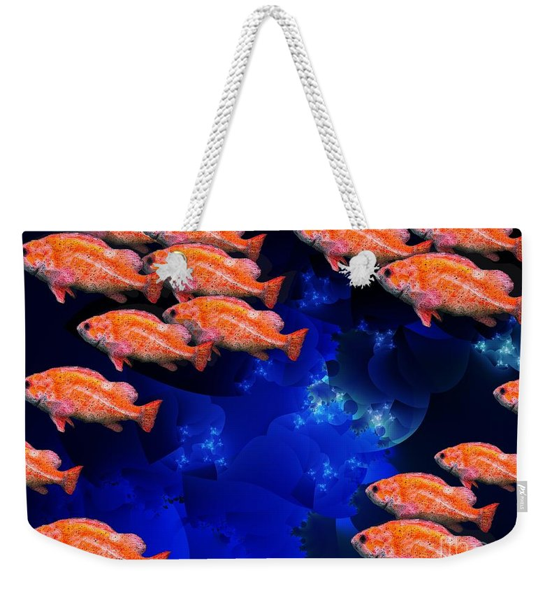 Fish Art Weekender Tote Bag featuring the digital art Fishy by Ron Bissett