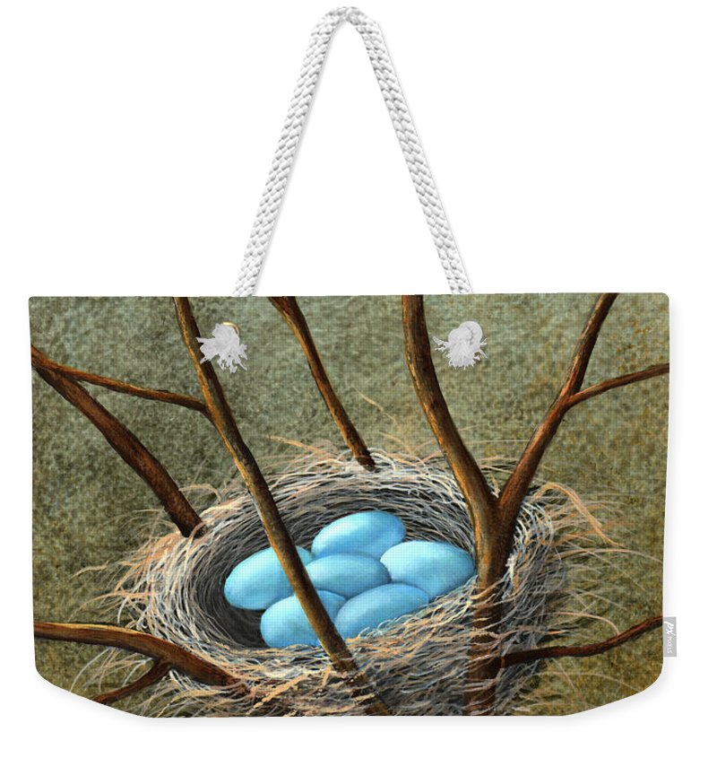 Birds Weekender Tote Bag featuring the painting Five Blue Eggs by Frank Wilson