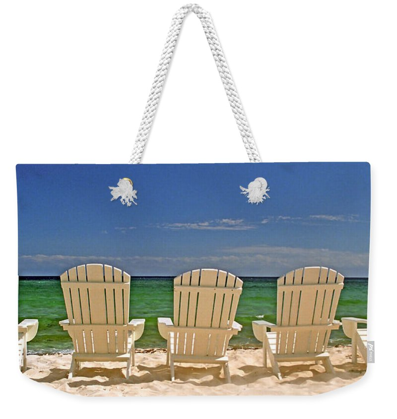 Adirondack Weekender Tote Bag featuring the photograph Five Chairs On The Beach by John Harmon