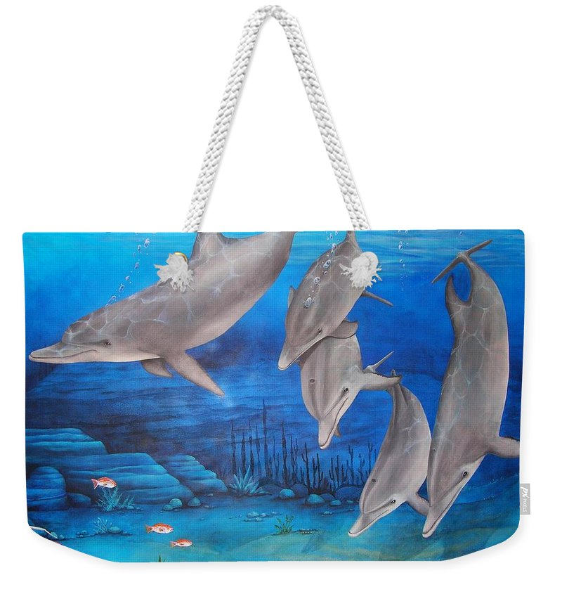 Dolphin Weekender Tote Bag featuring the painting Five Friends by Cindy D Chinn