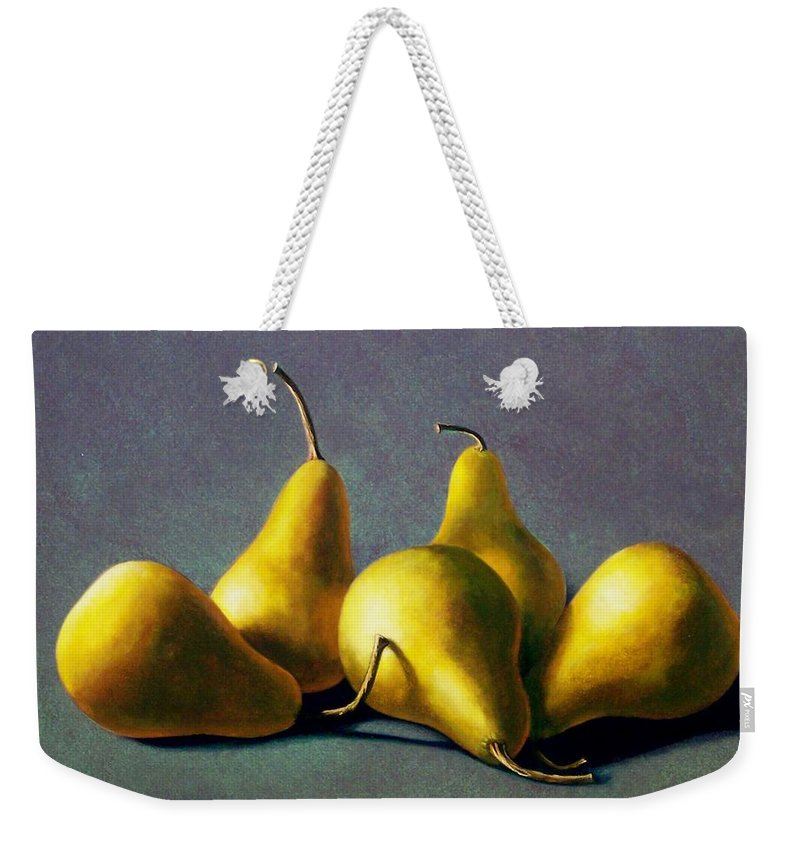 Still Life Weekender Tote Bag featuring the painting Five Golden Pears by Frank Wilson