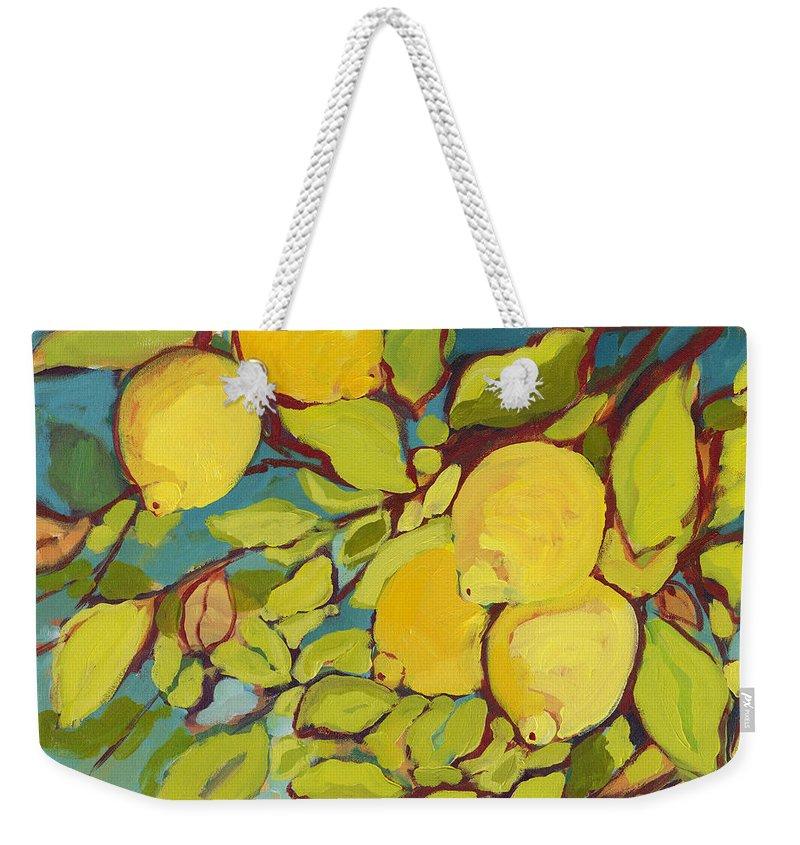 Lemon Weekender Tote Bag featuring the painting Five Lemons by Jennifer Lommers