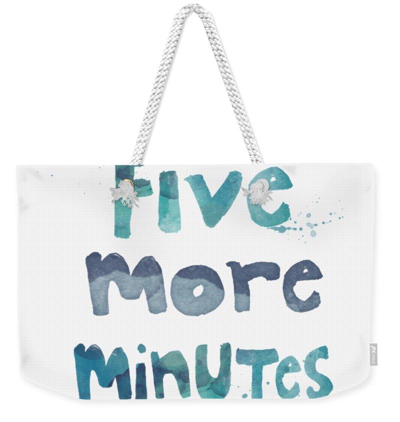 Sleep Weekender Tote Bag featuring the painting Five More Minutes by Linda Woods
