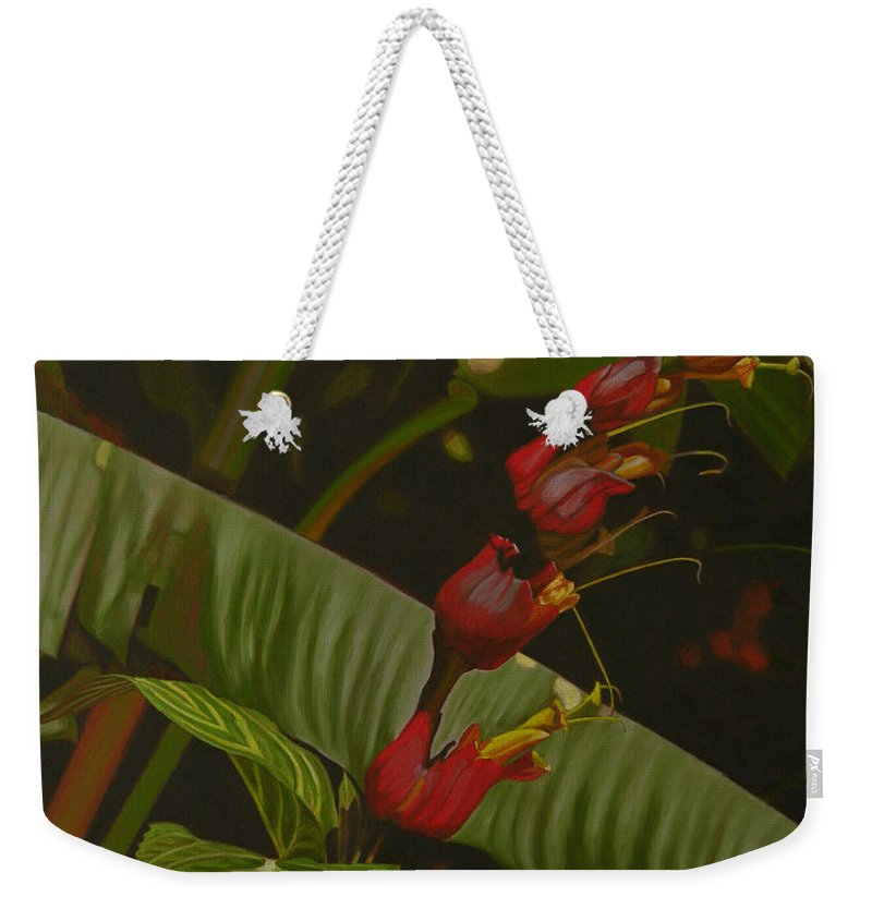Floral Weekender Tote Bag featuring the painting Five Red by Thu Nguyen