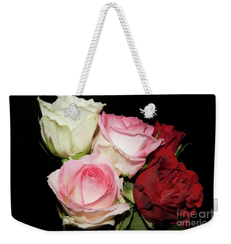 Flowers Weekender Tote Bag featuring the photograph Five Roses by Elvira Ladocki
