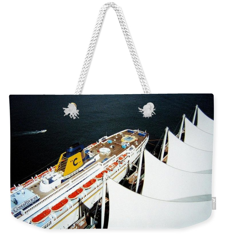 Five Sails Weekender Tote Bag featuring the photograph Five Sails And A Ship by Will Borden