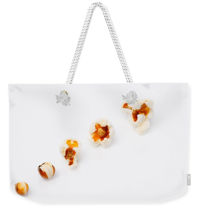 Popcorn Weekender Tote Bag featuring the photograph Five Steps To Pop by Ale Quero-Dodge