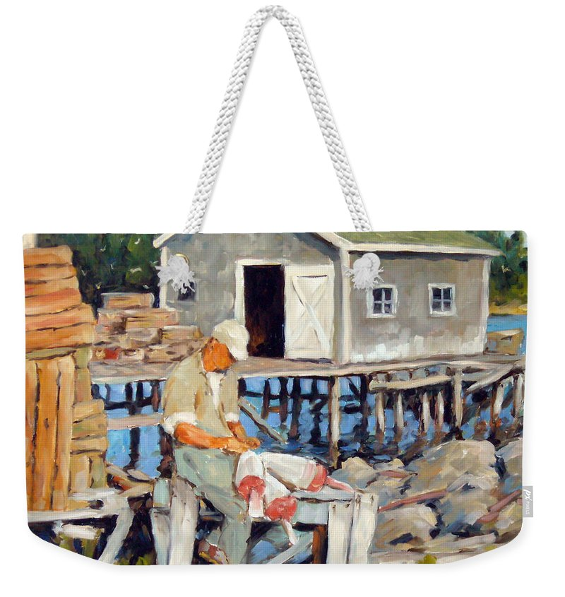 Fishing Boats Weekender Tote Bag featuring the painting Fixing Floats by Richard T Pranke