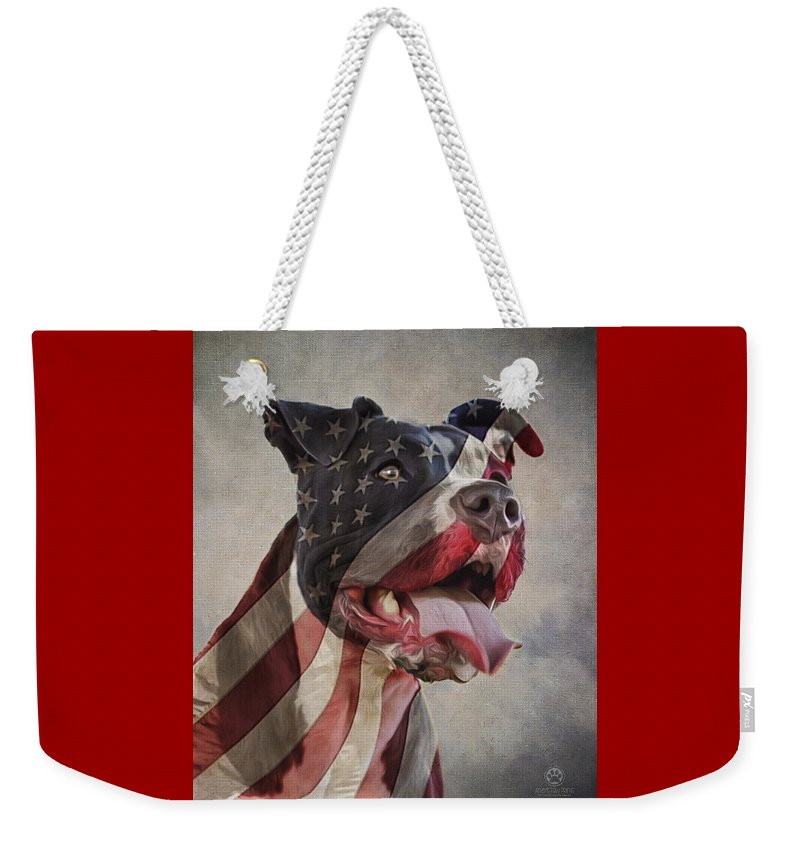 Flag Weekender Tote Bag featuring the digital art Flag Dog by Andy's Paw Prints