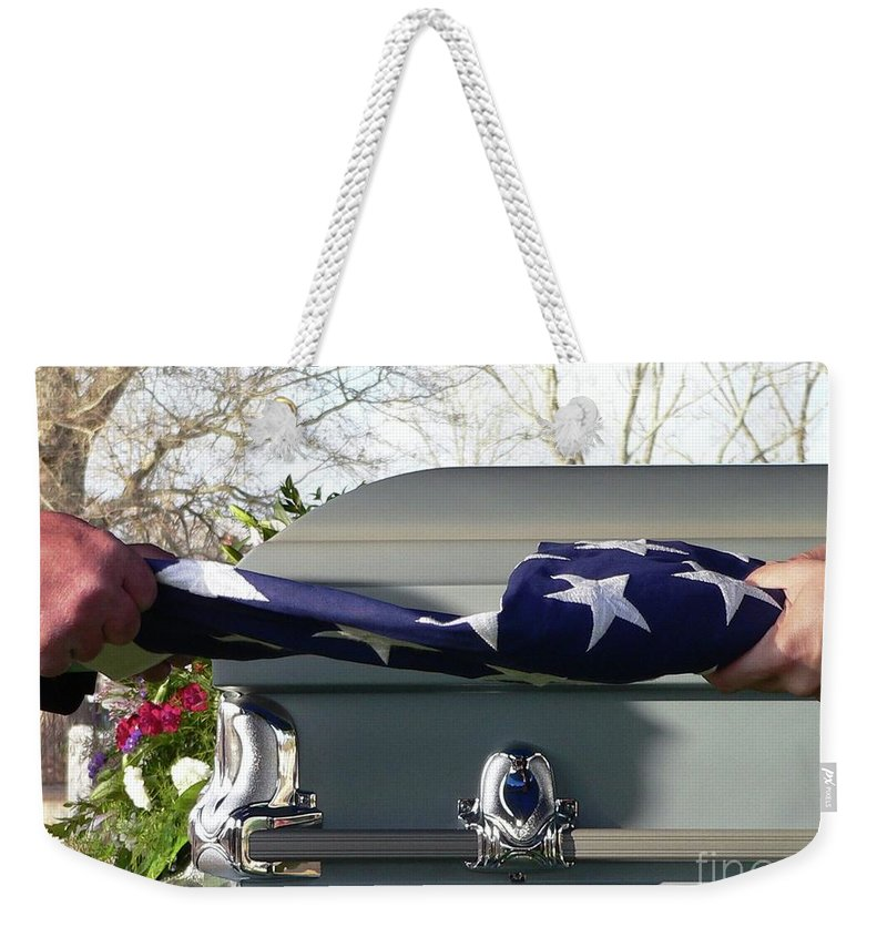Patriot Weekender Tote Bag featuring the photograph Flag For The Fallen by Al Powell Photography USA