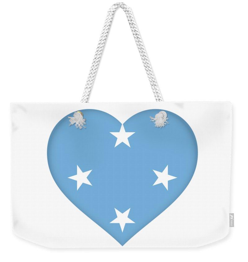 Yap Weekender Tote Bag featuring the digital art Flag Of Micronesia Heart by Roy Pedersen