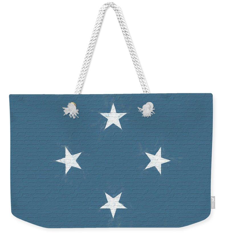 Chuuk Weekender Tote Bag featuring the digital art Flag Of Micronesia Wall by Roy Pedersen
