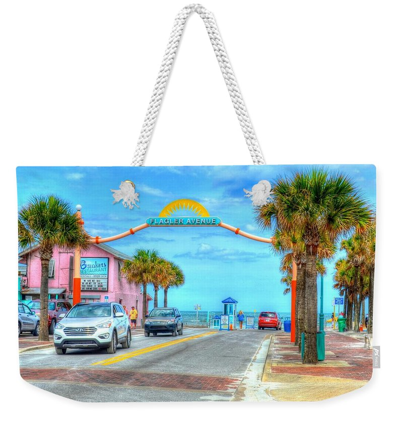 Beach Weekender Tote Bag featuring the photograph Flagler Avenue by Debbi Granruth