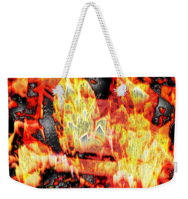 Abstract Weekender Tote Bag featuring the photograph Flame Gems by Seth Weaver