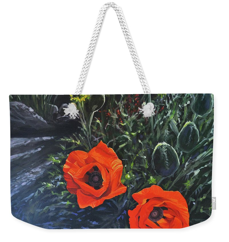 Poppy Weekender Tote Bag featuring the painting Flame of the West by Hunter Jay