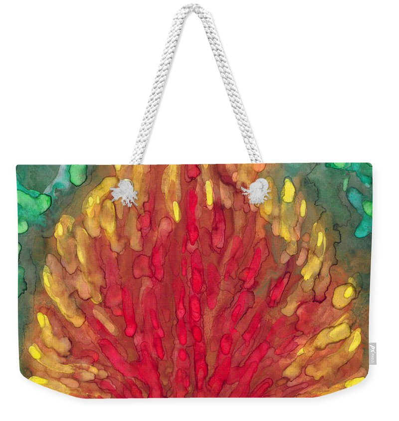 Colour Weekender Tote Bag featuring the painting Flame by Wojtek Kowalski