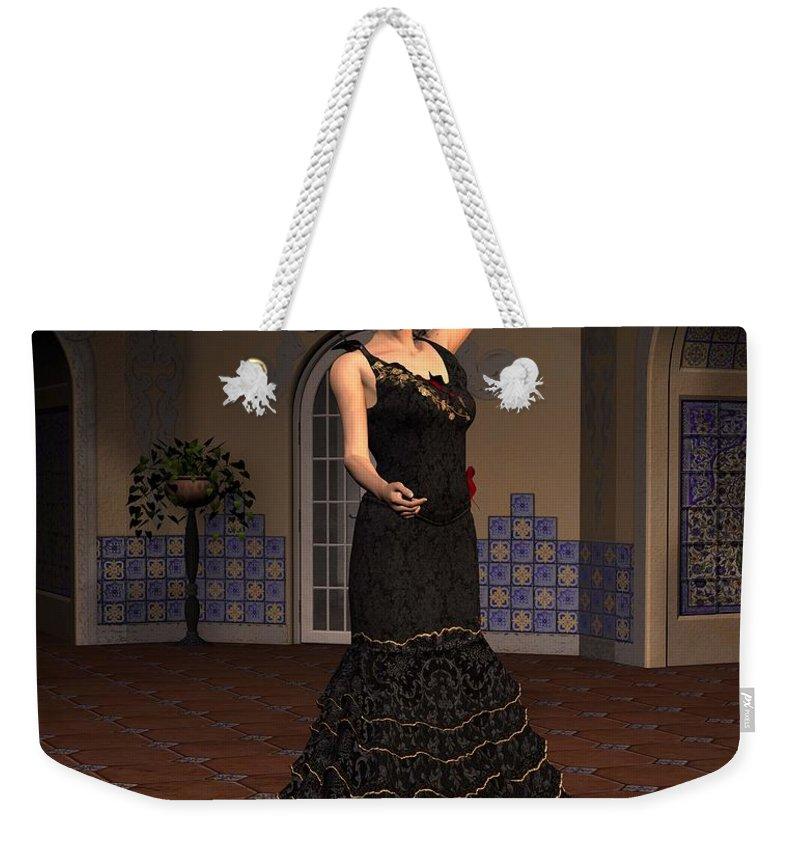 Flamenco Weekender Tote Bag featuring the digital art Flamenco Dancer by John Junek