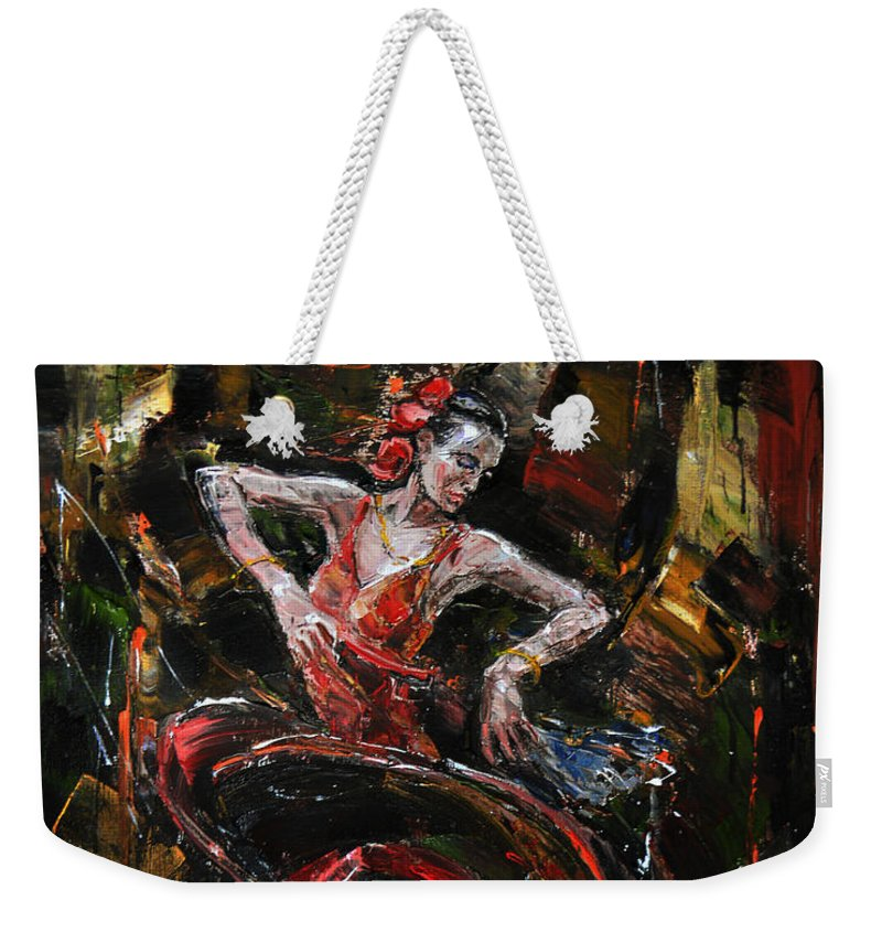 Acrylics Weekender Tote Bag featuring the painting Flamenco II by Stefano Popovski