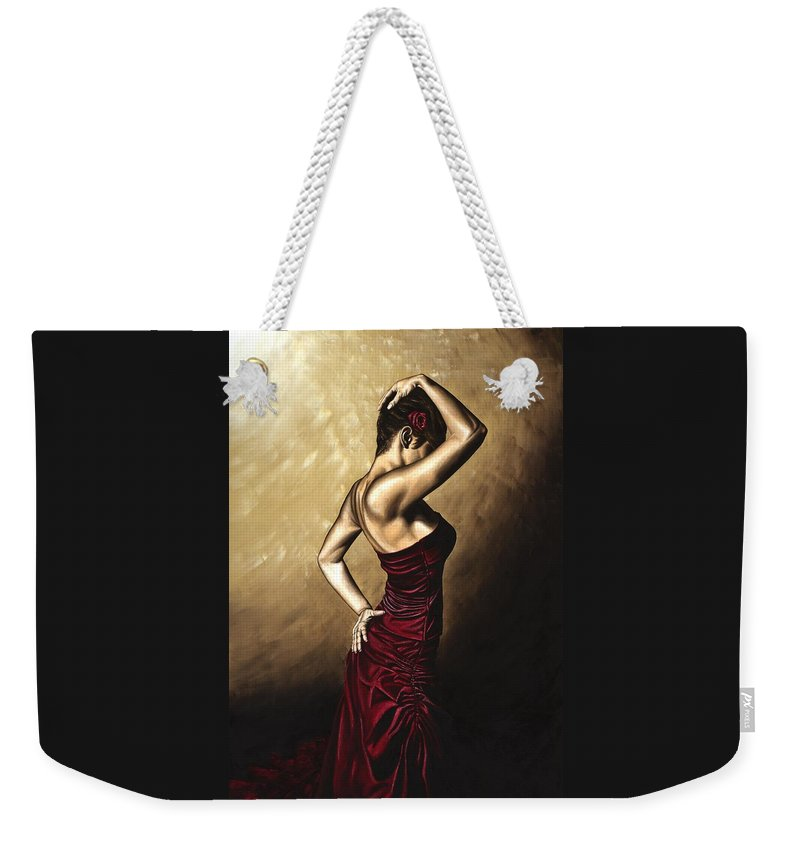 Flamenco Weekender Tote Bag featuring the painting Flamenco Woman by Richard Young