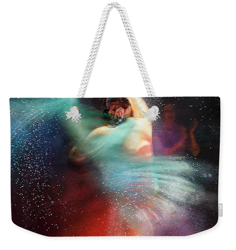 Flamenco Weekender Tote Bag featuring the painting Flamencoscape 02 by Miki De Goodaboom