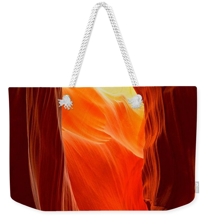 Upper Antelop Weekender Tote Bag featuring the photograph Flames At Upper Antelope by Adam Jewell